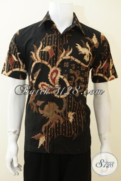Hem Batik Tulis Soga Dasar Hitam Untuk Tampil Elegan, Baju Batik Lengan Pendek Pewarna Alam Harga Terjangkau [LD3080TS-S]