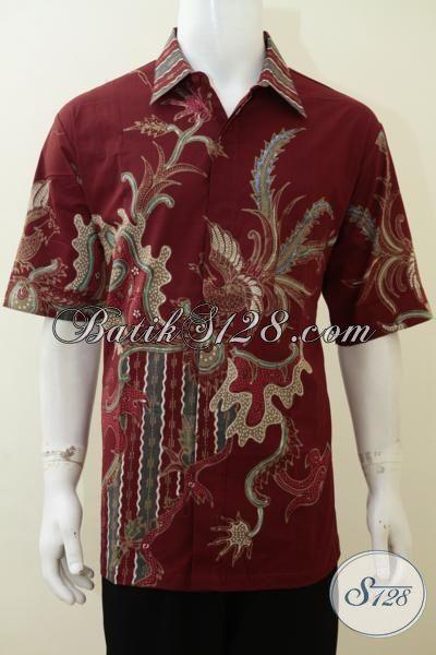 Kemeja Batik Jumbo Warna Merah Keren, Busana Batik Tulis Lengan Pendek Motif Modern Trend Fashion Masa Kini, Cocok Untuk Pesta Kerja Dan Jalan-Jalan [LD3100T-XXL]