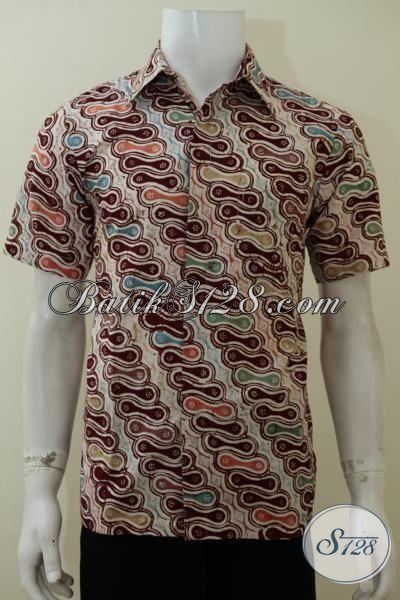 Baju Kemeja Batik Lengan Pendek Paling Keren Saat Ini, Pakaian Batik Lengan Pendek Proses Cap Kain Halus Tampil Lebih Bergaya, Size S