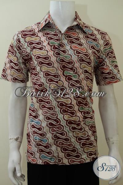 Busana Batik Parang Desain Modern, Baju Batik Cap Model Lengan Pendek Pria Dewasa Tampil Trendy Dan Awet Muda, Size M