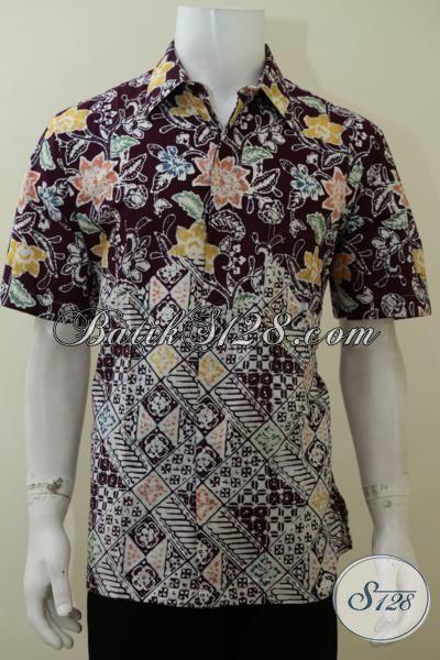 Baju  Hem Batik Cap Buatan Solo Asli Kwalitas Halus Nyaman Di Pakai, Pakaian Batik Pria Lengan Pendek Motif Terbaru Trend Terkini, Size L