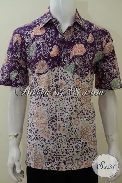 Hem Batik Dua Warna Trend Busana Pria 2016, Baju Batik Solo Halus Motif Keren Cowok Tampil Trendy, Size L