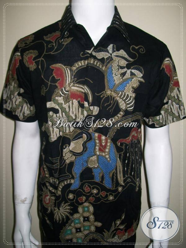 Baju Batik Tulis Pria Lengan Pendek Warna Hitam Motif
