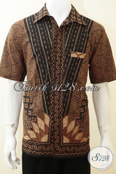 Busana Batik Jawa Motif Klasik Khas Solo Jawa Tengah, Kemeja Batik Tulis Lengan Pendek Kwalitas Bagus Harga Terjangkau [LD3135T-L]