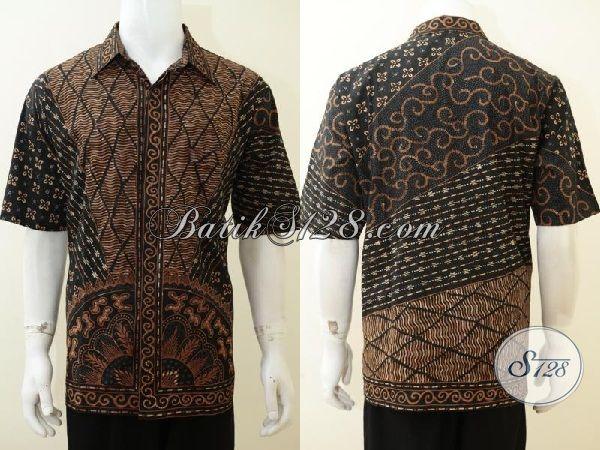 Kemeja Batik Ukuran Besar Proses Tulis Tangan, Baju Batik Motif Klasik Buatan Solo Kwalitas Halus Tampil Elegan, Size XL
