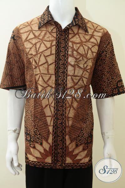 Distro Pakaian Batik Klasik Online, Jual Baju Batik Tulis Lengan Pendek Tradisional Jawa Motif Mewah Tampil  Elegan, Size XL
