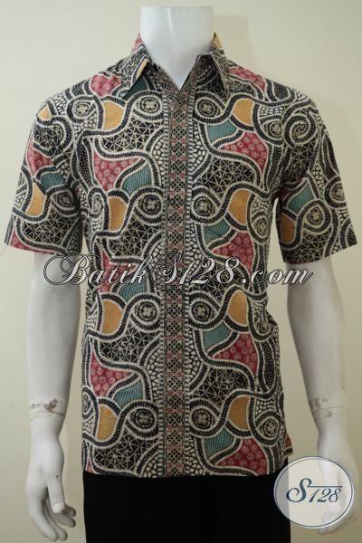 Pakaian Batik Keren Untuk Cowok Tampil Macho, Kemeja Batik Motif Gaul Model Lengan Pendek Sangat Cocok Untuk Pesta Dan Jalan-Jalan [LD3151CT-L]
