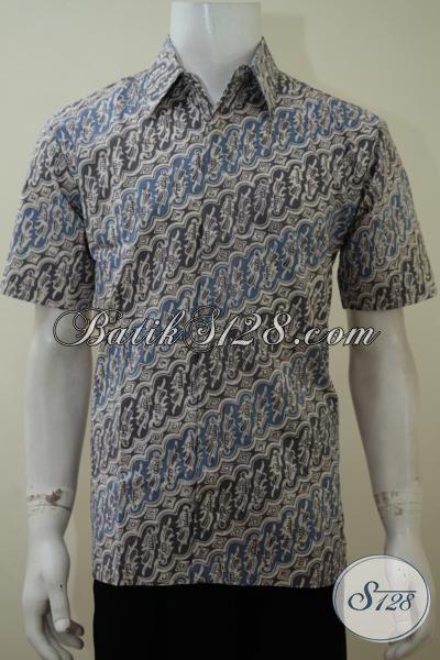 Baju Batik Parang Klasik Desain Modern, Hem Batik Lengan Pendek Seragam Kerja Proses Cap Dengan Pewarna Alami, Size M