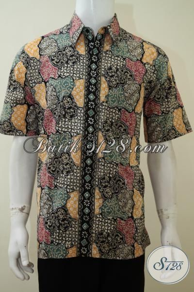 Busana Batik Motif Paling Trendy 2015 Dengan Kombinasi Warna Keren Yang Gaul, Baju Batik Cap Tulis Lengan Pendek Pas Buat Pesta Dan Hangouts, Size L