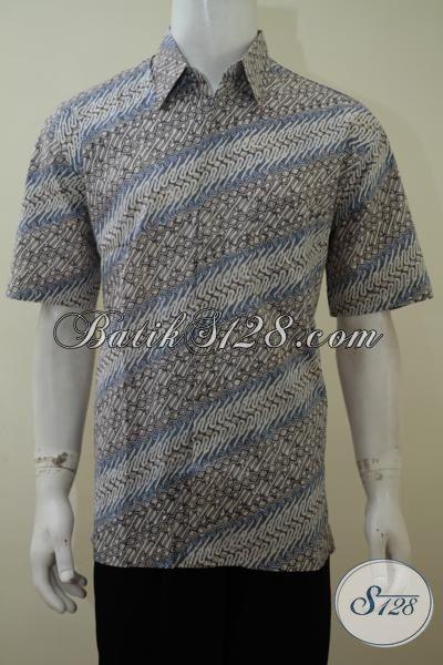 Baju Hem Batik Cap Hadir DEngan Pewarna Alami Yang Ramah Lingkungan, Busana Batik Lengan Pendek Pria Tampil Bagus Dan Gagah, Size L