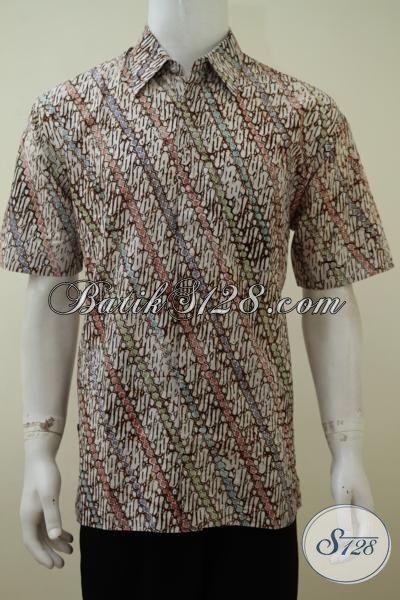 Kemeja Batik Jawa Khas Solo Proses Cap Bledak, Baju Batik Trendy Kwalitas Premium Bisa Untuk Kerja Dan Pesta, Size XL