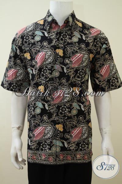 Sedia Baju Batik Pria Motif Unik Trend Masa Kini, Pakaian Batik Lengan Pendek Cap Tulis Dasar Hitam Tampil Trendy Dan Elegan, Size XL