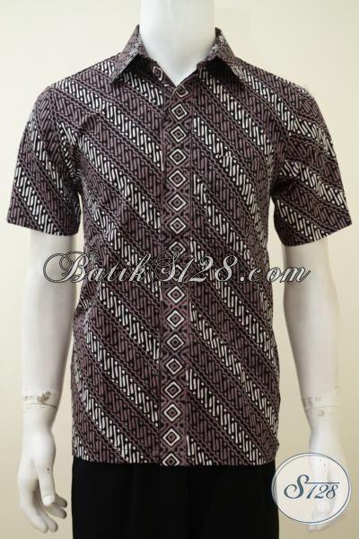 Kemeja Batik Cap Tulis Motif Parang Halus Dan Tidak Panas, Baju Batik Lelaki Kantoran Tampil Lebih Bergaya, Size XL