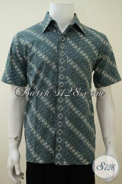 Baju Batik Parang Hijau Kombinasi Putih Model Lengan Pendek, Kemeja Batik Modern Khas Anak Muda Proses Cap Tulis [LD3179CT-M]
