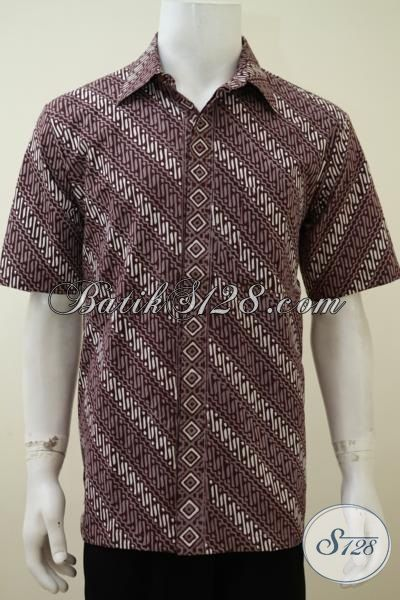 Hem Batik Lengan Pendek Warna Coklat Motif Parang Untuk Pria Muda, Baju Batik Cowok Paling Banyak Di Cari Saat Ini, Size L