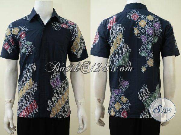 Hem Batik Motif Kombinasi, Pakaian atik Lengan Pendek Warna Hitam, Batik Kerja Cowok Kantoran Tampil Trendy, Size S