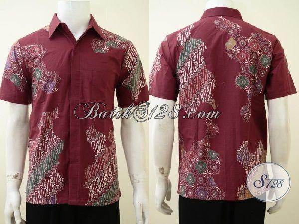 Baju Batik Lengan Pendek, Hem Batik Cap Tulis Keren, Busana Batik Gaul Warna Merah Untuk Lelaki Masa Kini, Size S