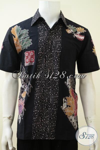 Baju Batik Hitam Untuk Pria Muda Dan Dewasa, Hem Batik Lengan Pendek Motif Unik Dan Menarik Sangat Cocok Untuk Hangouts Dan Jalan-Jalan [LD3225CT-M]