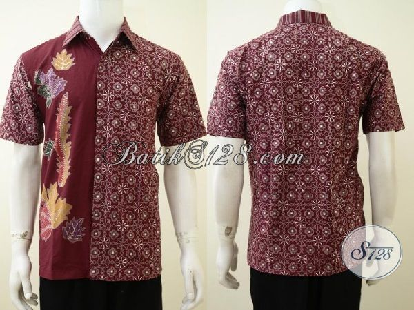 Baju Batik Seragam Kerja Lelaki Muda Karir Cemerlang, Hem Batik Warna Merah Kombinasi Dua Motif Kesan Mewah Dan Berkelas [LD3226CT-M]