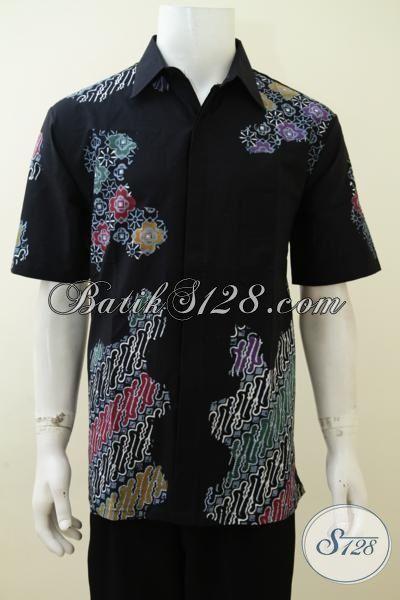 Hem Batik Lengan Pendek Warna Hitam Dengan Desain Motif Trendy Pas Buat Anak Muda Maupun Pria Dewasa, Baju Batik Cap Tulis Mewah Murah [LD3232CT-L]
