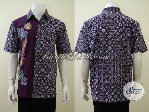 Busana Batik Ungu Dua Motif Untuk Tampil Trendy Dan Modern, Kemeja Batik Lengan Pendek Pria Muda Karir Aktif [LD3237CT-L]