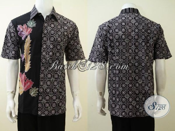 Hem Batik Hitam Dua Motif Proses Cap Tulis, Trend Batik Pria Muda Masa Kini Tampil Elegan Dan Trendy, Size L