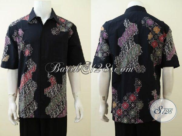 Pakaian Batik Lengan Pendek Lelaki Macho Tampil Trendy, Busana Batik Halus Proses Cap Tulis Motif Berkelas Executive [LD3244CT-XL]