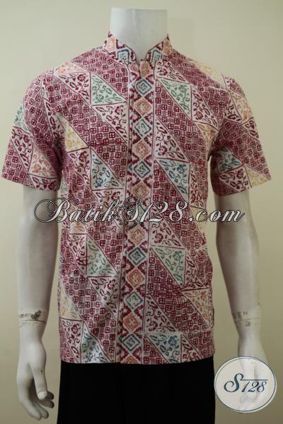 Hem Batik Lengan Pendek Model Kerah shanghai, Baju Batik Cap Motif Modern Trend 2015, Baju Batik Lengan Pendek Kwalitas Bagus, Size S