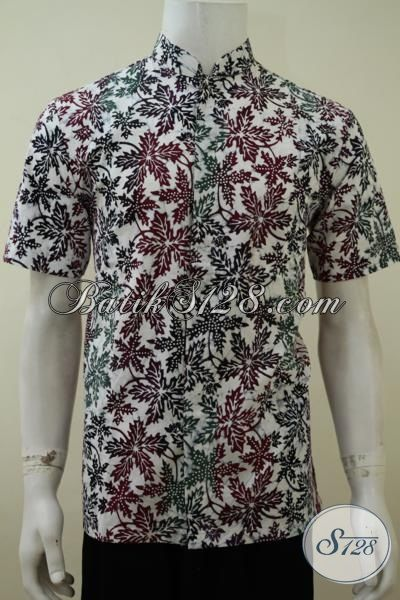 Hem Batik Bagus Model Kerah Shanghai, Batik Cap Bledak Motif Trendy, Batik Muslim Cowok Masa Kini, Size M