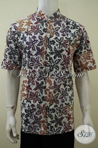 Hem Batik Kerah Shanghai Model Lengan Pendek, Baju Batik Koko Motif Dan Warna Modern Pas Buat Gaul Dan Bekerja, Size L
