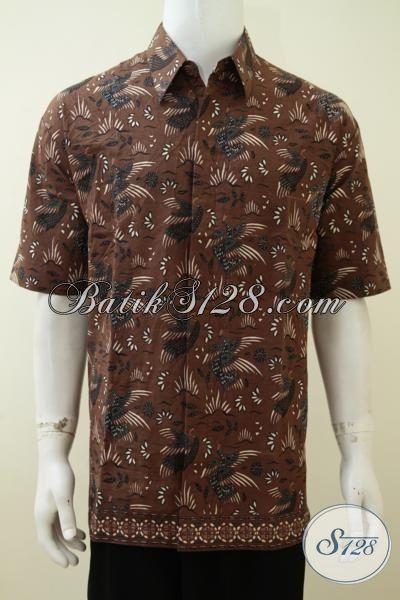 Hem Batik Coklat Proses Print Motif Unik, Pakaian Batik Masa Kini Untuk Pria Muda Dan Dewasa, Size S