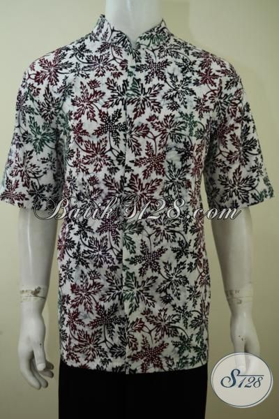 Batik Hem Gaul Kwalitas Bagu, Jual Batik Lengan Pendek Keren Motif Unik Proses Cap Bledak Model Kerah Shanghai, Size XL