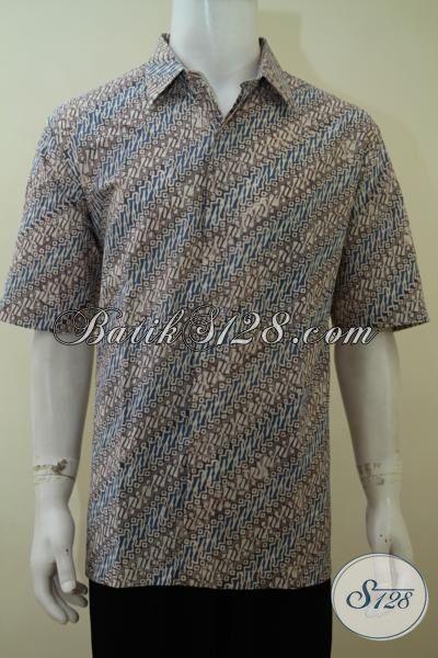 Toko Online Batik Solo Modern, Sedia Hem Batik Lengan Pendek Motif Parang Kwalitas Halus, Baju Batik Pria Muda Cap Trend Masa Kini, Size XL