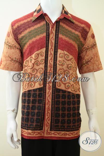 Hem Batik Modern Warna Klasik, Pakaian Batik Paling Keren Kwalitas Bagus Model Lengan Pendek, Batik Kombinasi Tulis  Lengan Pendek Untuk Kerja Dan Pesta, Size L