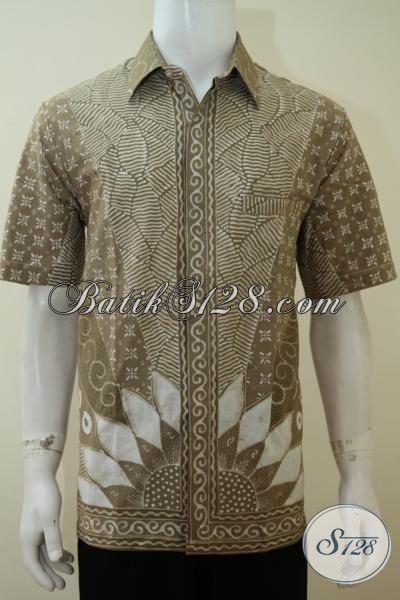 Hem Batik Lengan Pendek Proses Tulis Dengan Pewarna Alam, Baju Batik Bagus Kwalitas Halus Warna Kalem Pria Tampil Lebih Elegan, Size L