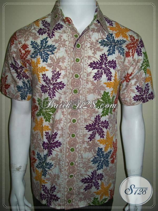 Baju Batik Pria Motif Daun Pepaya, Batik Bledak Putih [LD331CTC-M]