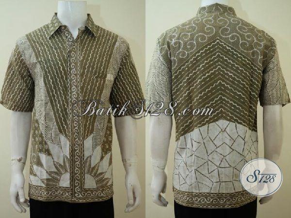 Baju Batik Lengan Pendek Buatan Solo, Hem Batik Keren Motif Klasik Proses Tulis Dengan Warna Lembut, Batik Mewah Pewarna Alami, Size XL
