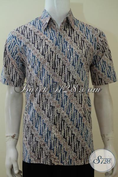 Kemeja Batik Parang, Baju Batik Kerja Lengan Pendek Pria, Busana Batik Cap Warna Alam, Batik Klasik Halus , Size L