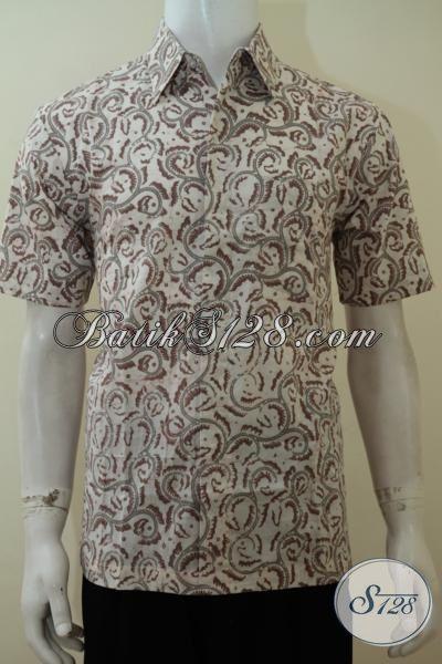 Kemeja Cowok Kerja Kantor Batik Warna Salem Soft Elegan Eksklusif Lengan Pendek [LD3355CA-M]