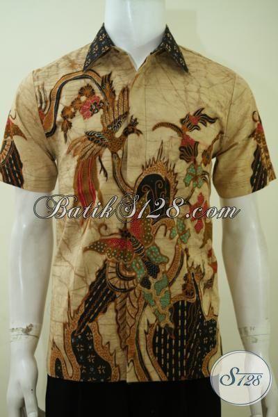Kemeja Batik Pria Motif Modern Warna Coklat Baju Batik