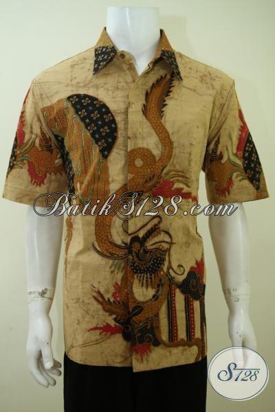 Baju Kemeja Batik Tulis Lengan Pendek, Pakaian Batik Halus Kelas Premium, Baju Batik Kerja Full Furing Motif Naga Pria Tampil Berkarakter, Size XL