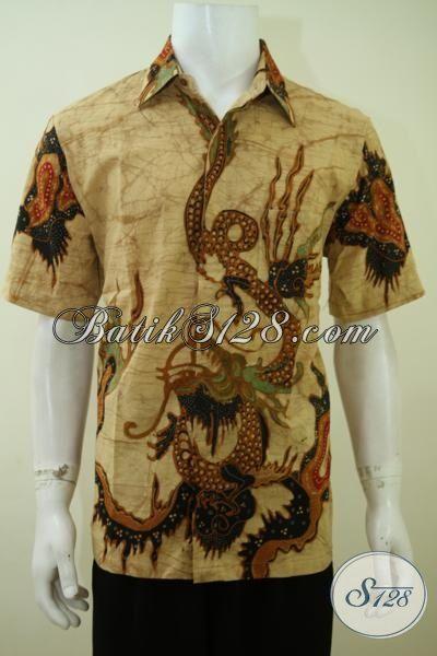 Baju Batik Motif Naga Warna Coklat Klasik, Hem Batik Lengan Pendek Khas Solo Cocok Untuk Kerja Dan Kondangan [LD3405T-L]