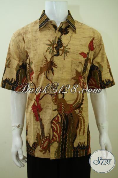 Pakaian Batik Kerja Pria Muda Masa Kini, Hem Batik Trendy Kwalitas Premium Cowok Tampil Lebih Gagah [LD3407T-XL]