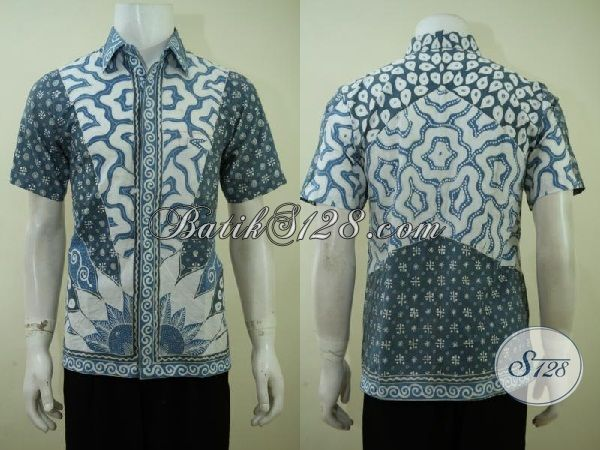 Kemeja Batik Ramah Lingkungan Pewarna Alam, Baju Batik Lengan Pendek Klasik Modern Warna Biru [LD3409TA-S]