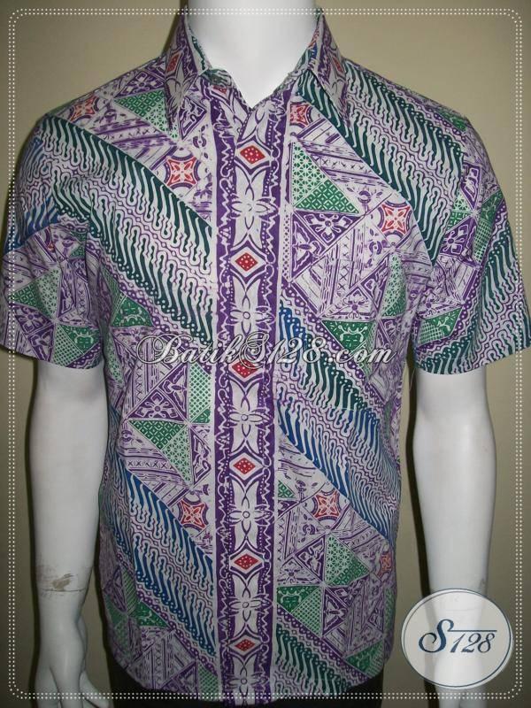 Baju Batik Cap Untuk Pria Ukuran Small, Corak Parang Warna Putih Ungu Ijo [LD340C-S]