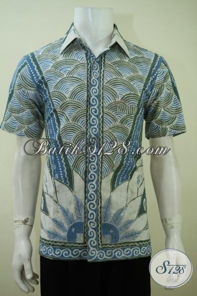 Busana Batik Lengan Pendek Motif Kasik Warna Biru, Pakaian Batik Pria Muda Proses Tulis Dengan Pewarna Alam [LD3412TA-M]