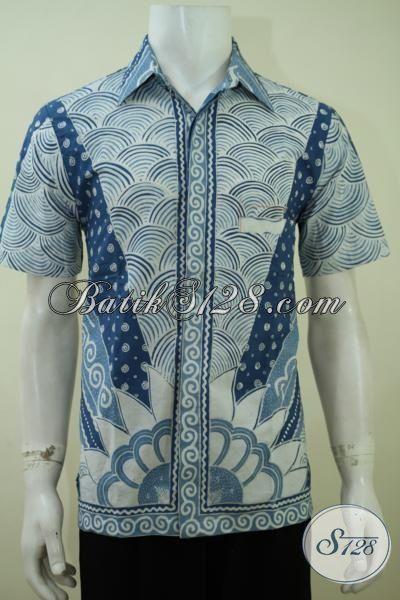 Hem Batik Klasik Motif Matahari, Pakaian Batik Kerja Cowok, Batik Solo Baju Elegan Model Lengan Pendek, Size M