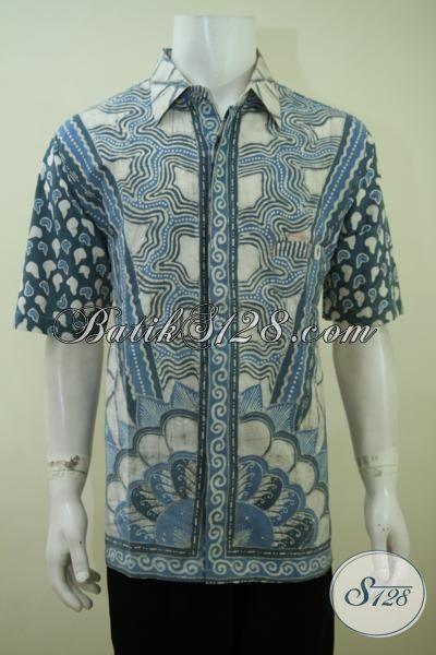 Jual Kemeja Batik Pria Trend Masa Kini, Busana Batik Tulis Mewah Motif Klasik Warna Biru [LD3417TA-XL]