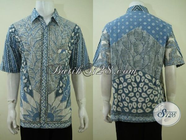 Baju Batik Kerja Warna Biru Proses Tulis Dengan Pewarna Alam Yang Ramah Lingkungan, Baju Batik Lengan Pendek Premium Harga Murah [LD3418TA-XL]