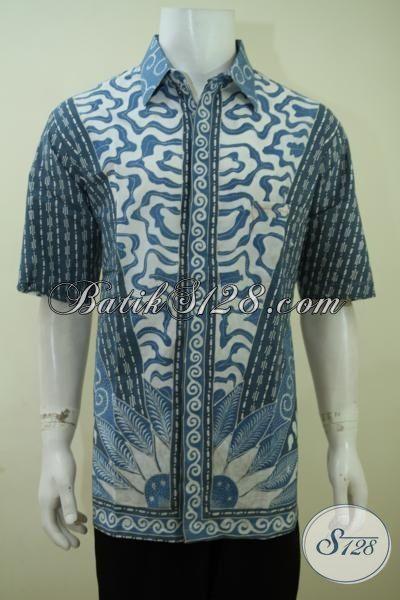 Baju Batik Pria Gemuk, Busana Batik Lengan Pendek Pewarna Alam, Kemeja Batik Tulis Size Jumbo Halus Cocok Untuk Kondangan Dan Acara Resmi, XXL